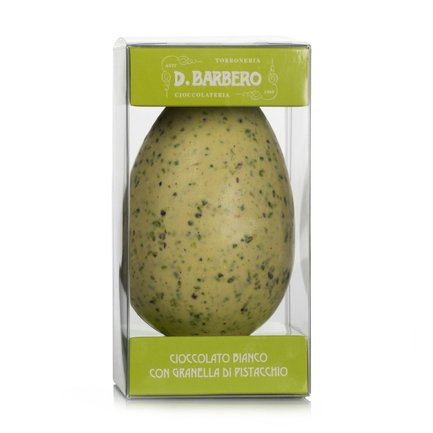 White chocolate egg with chopped pistachios 200g