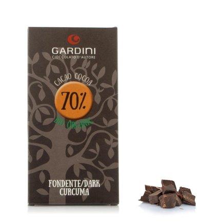 Tablette de chocolat noir 70% curcuma 80g