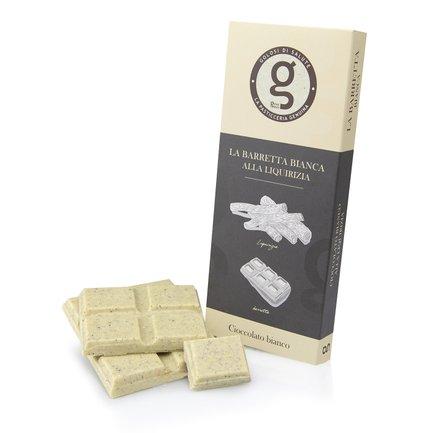 Tablette de chocolat blanc à la réglisse 75g