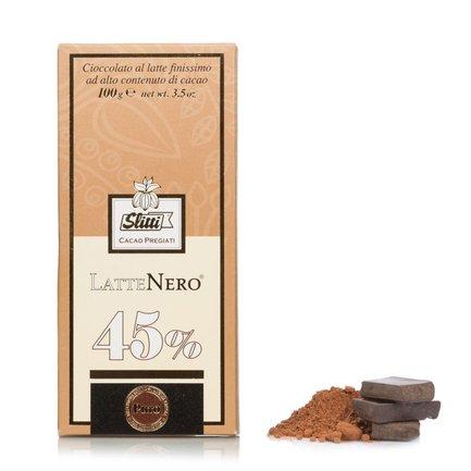 Tablette de chocolat au lait très fin 45 % LatteNero 100 g
