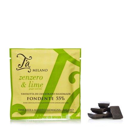 Tablette de chocolat noir au gingembre et citron vert 50g