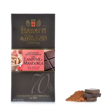 Tablette de chocolat noir framboise 75g