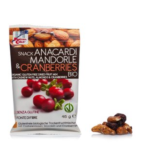 Snack de Noix De Cajou, Amandes et Canneberges biologiques 45g