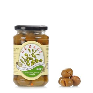 Zerdrückte grüne Oliven in Salzlake 200 g