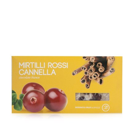Tavoletta cioccolato bianco, mirtilli rossi e cannella 100g