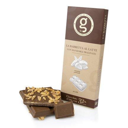 Tavoletta di cioccolato al latte con mandorle pralinate 85g