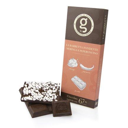 Tavoletta di cioccolato fondente meringa e peperoncino 85g