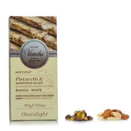 Tavoletta Cioccolato Bianco Light Salato Pistacchi 100g